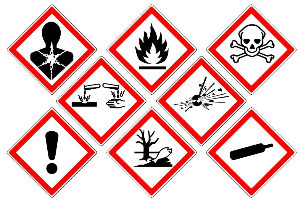 COSHH Assessment danger symbols