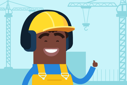 Cartoon construction worker wearing hearing protection to illustrate the blog how loud is too loud