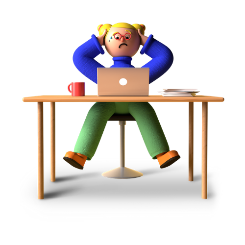 Cartoon man sat at desk to illustrate article how to manage work related stress