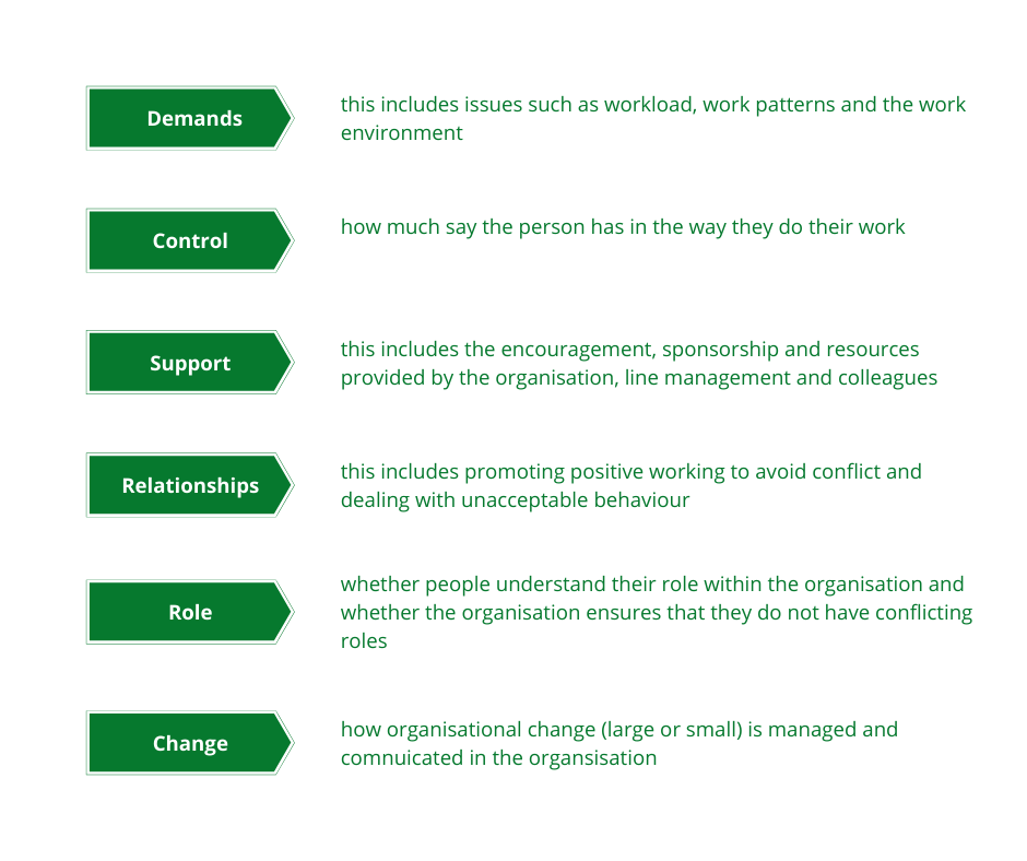 Work-related Stress Management standards, demands, control, support, relationships, role and change